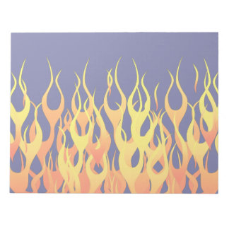 Classic Racing Flames Fire on Navy Blue Decor Note Pad
