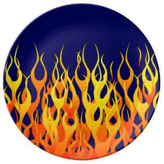 Classic Racing Flames Fire on Navy Blue Dinner Plate