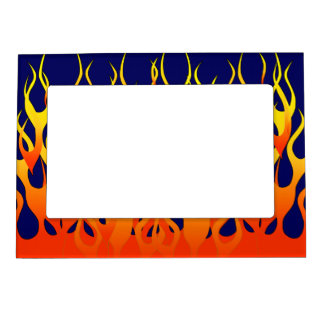 Classic Racing Flames Fire on Navy Blue Magnetic Picture Frame