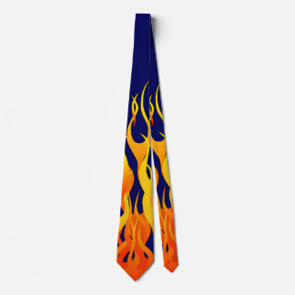 Classic Racing Flames Fire on Navy Blue Neck Tie