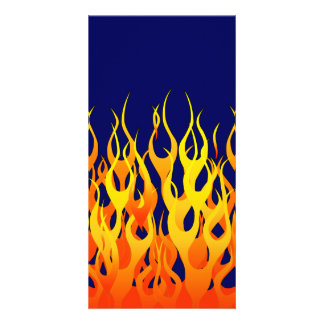 Classic Racing Flames Fire on Navy Blue Photo Greeting Card