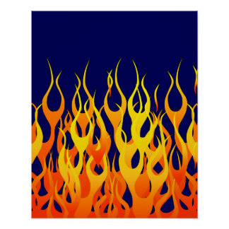 Classic Racing Flames Fire on Navy Blue Poster