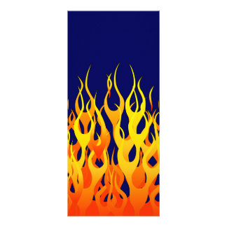 Classic Racing Flames Fire on Navy Blue Rack Card Template