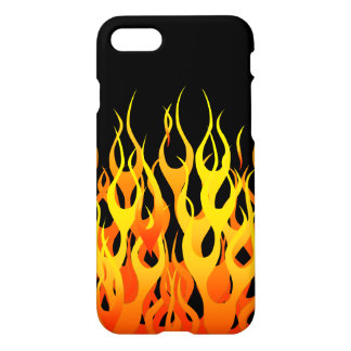 Classic Racing Flames on Black iPhone 7 Case