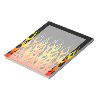Classic Racing Flames on Solid Black Notepad
