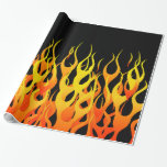 Classic Racing Flames On Solid Black Wrapping Paper at Zazzle