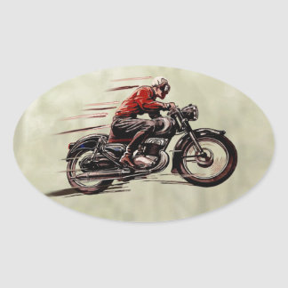 CLASSIC RACING MOTORCYCLE. OVAL STICKER