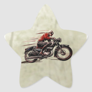 CLASSIC RACING MOTORCYCLE. STAR STICKER
