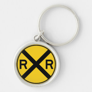 Classic Railroad Crossing Sign Vintage Key Chain