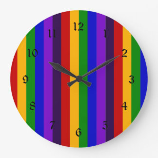 Classic Rainbow Vertical Stripes Colorful Gifts Large Clock