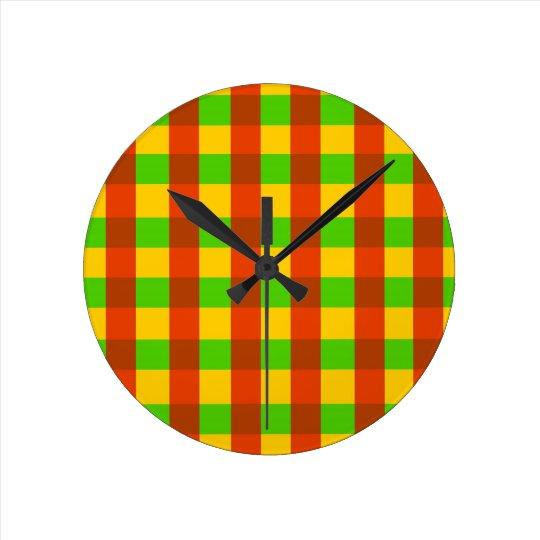 Classic Rasta Gingham Pattern Round Clock