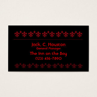 Classic Red and Black Damask Business Card