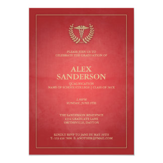 "Classic Red and Gold Medical Caduceus Graduation 5"" X 7"" Invitation Card"