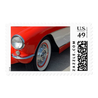 Classic Red and White Car Wheel Design Stamp