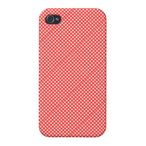 Classic Red and White Checkered Squares Pattern iPhone 4/4S Cases