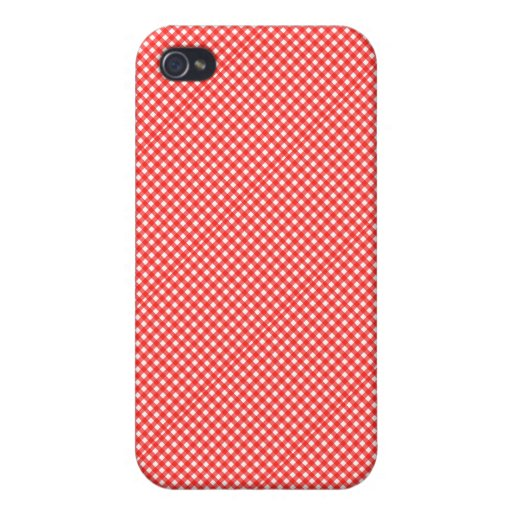 Classic Red and White Checkered Squares Pattern iPhone 4 Covers
