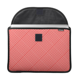 Classic Red and White Checkered Squares Pattern Sleeves For MacBook Pro