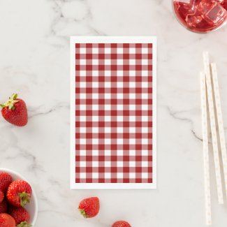 Classic Red and White Gingham Check Paper Guest Towels