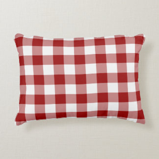 Classic Red and White Gingham Pattern Accent Pillow