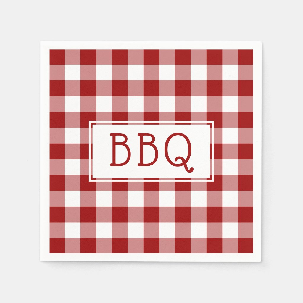 Classic Red and White Gingham Pattern BBQ Party Napkin