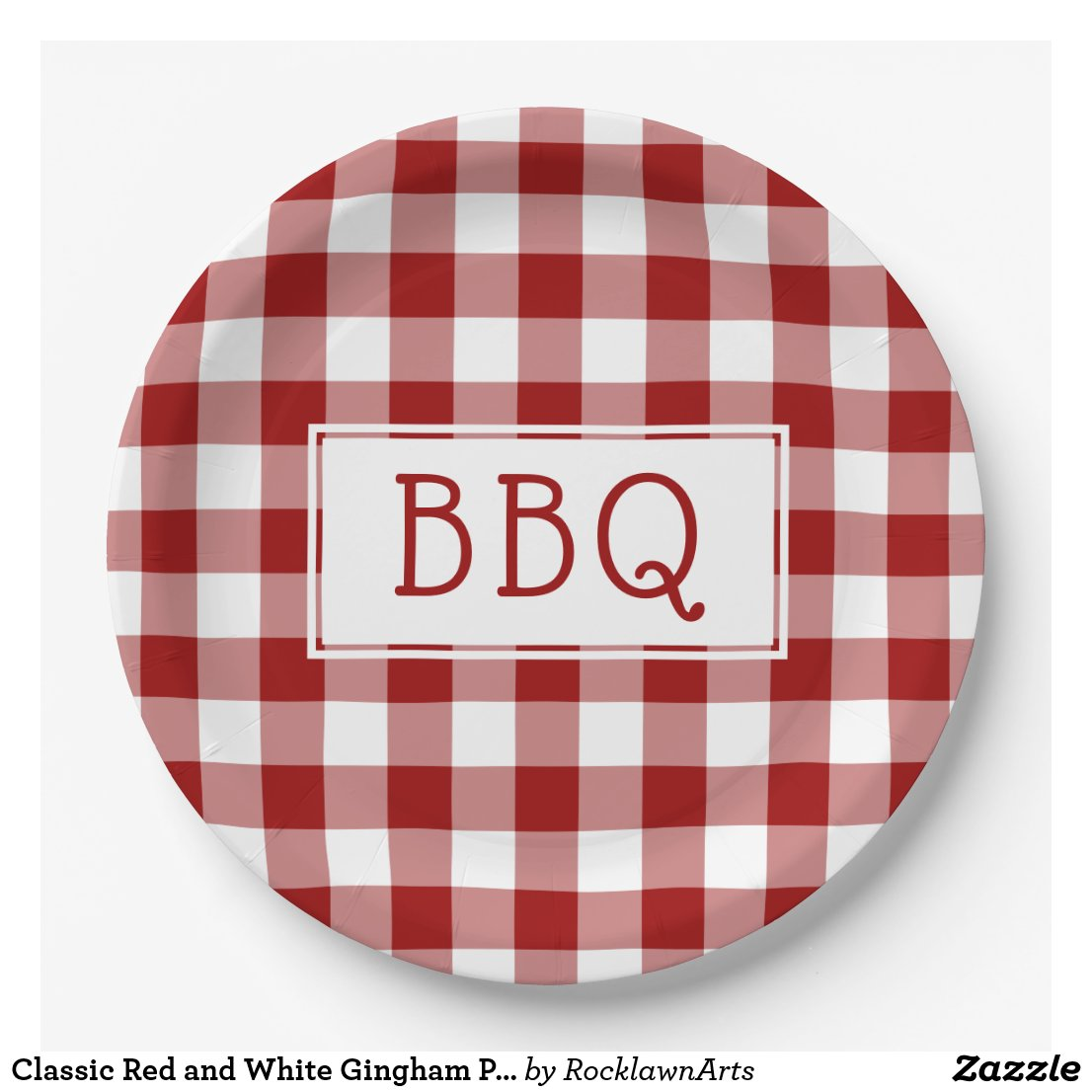 Classic Red and White Gingham Pattern BBQ Party Paper Plate