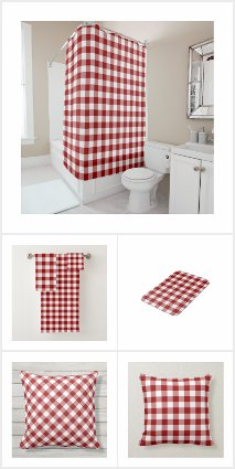 Classic Red and White Gingham Pattern Home Decor