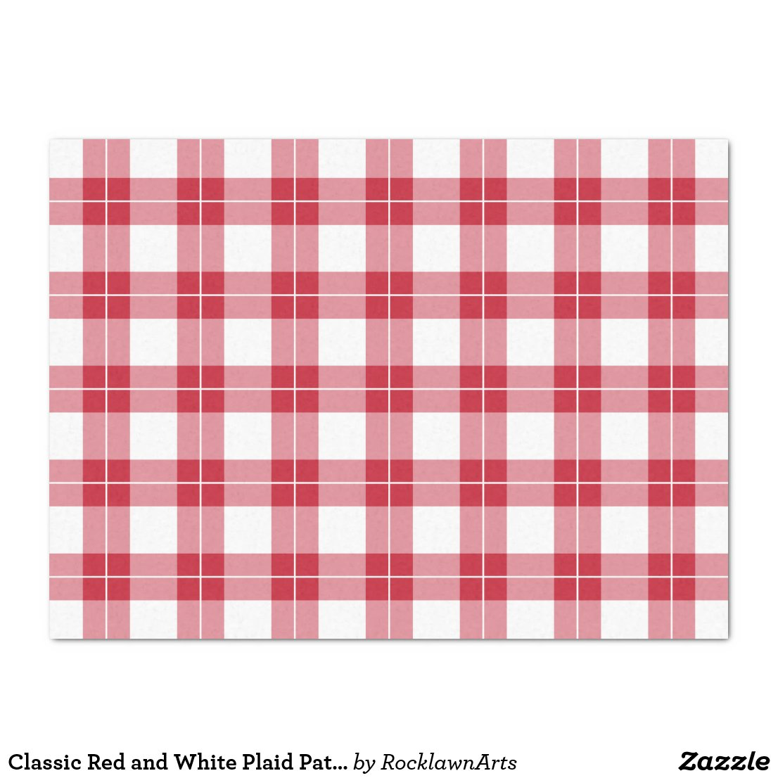 Classic Red and White Plaid Pattern Tissue Paper