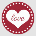 Classic Red and White Polka Dot Heart Love Classic Round Sticker