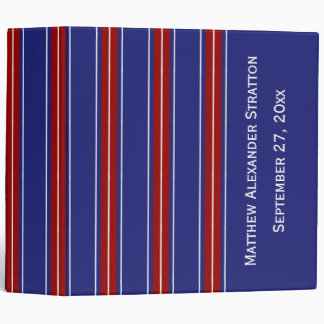 Classic Red and White Stripes on Nautical Blue Binders