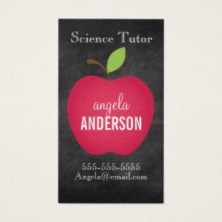 Classic Red Apple Chalkboard Teacher Business Card