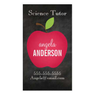Classic Red Apple Chalkboard Teacher Double-Sided Standard Business Cards (Pack Of 100)