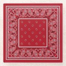 Classic Red Bandana Glass Coaster