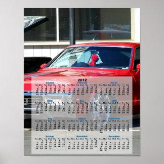 Classic red car 2012 Calendar poster