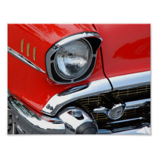 Classic Red Car Close Up Poster