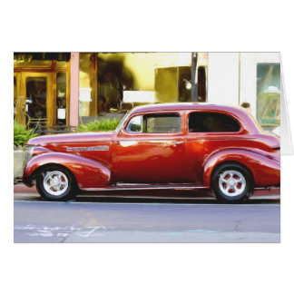 Classic Red Car notecard