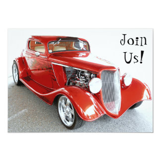 Classic Red Car Retirement Party Invite