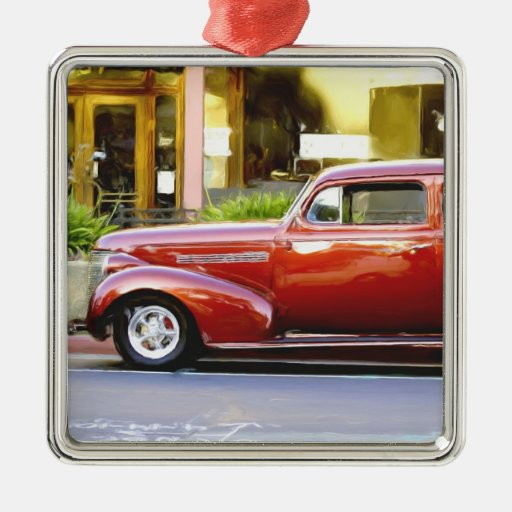 Classic Red Car Square Metal Christmas Ornament