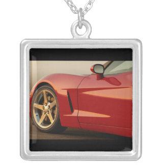 Classic Red Car Square Pendant Necklace
