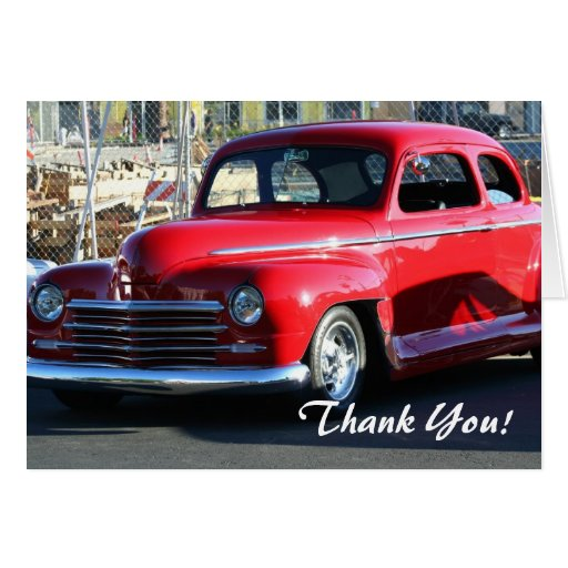 Classic Red Car Thank You greeting card