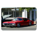 Classic red car vinyl magnets
