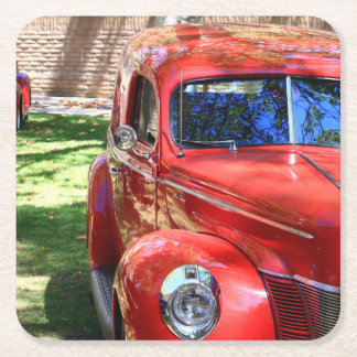 Classic Red cars Square Paper Coaster