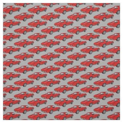Classic Red Corvette Design Fabric