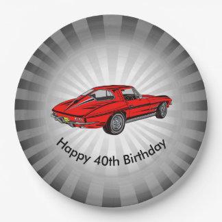 Classic Red Corvette Design Paper Party Plate