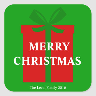 Classic Red Gift Box Green Ribbon Merry Christmas Square Sticker