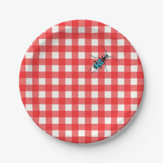 Classic Red Gingham with Turquoise Beetle Paper Plate