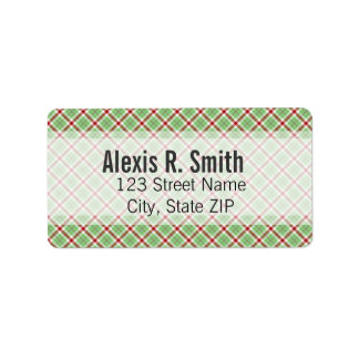 Classic Red & Green Plaid Personalized Address Labels