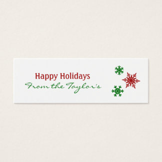 Classic Red Green Snowflake Holiday Gift Tags