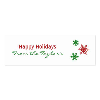Classic Red Green Snowflake Holiday Gift Tags Mini Business Card