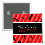 Classic Red Hair Salon Name Badge Pinback Button