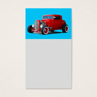 Classic red hot rod car business card